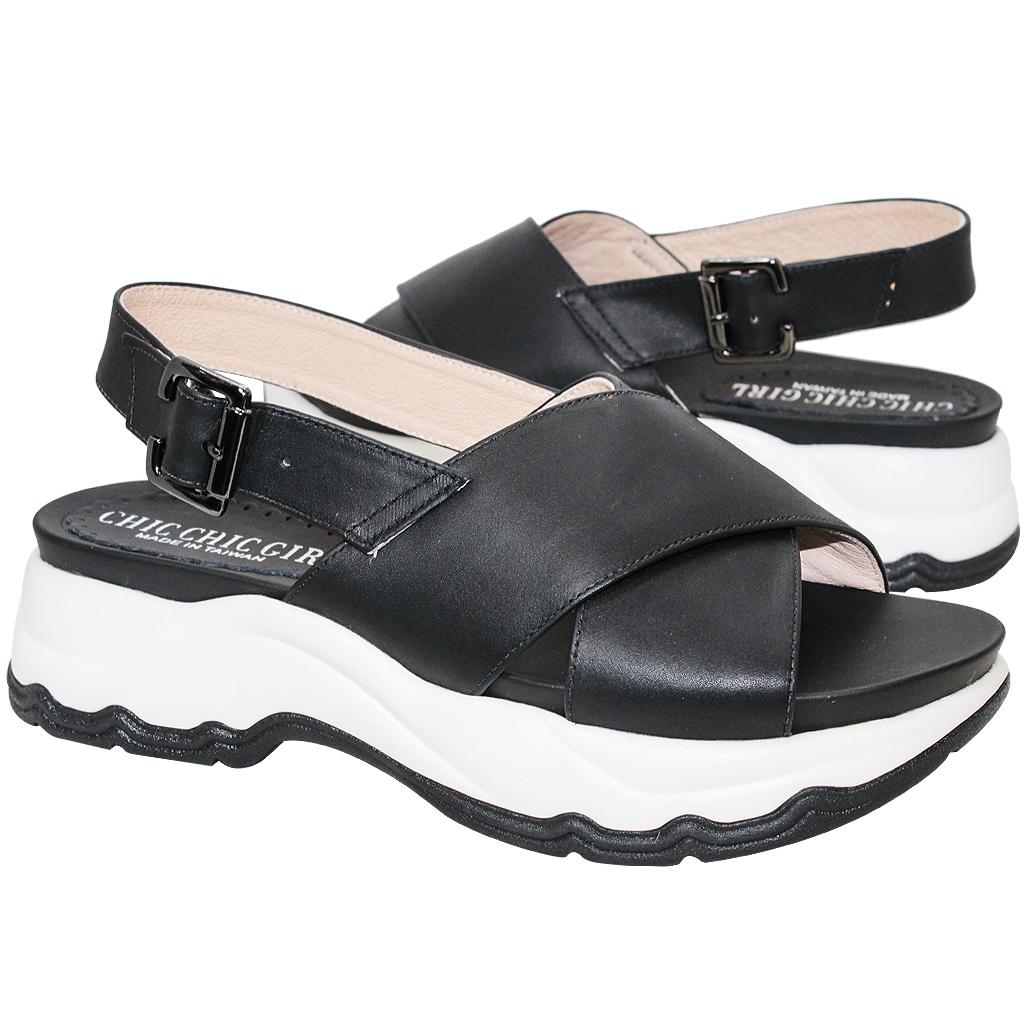 運動風小牛皮厚底增高涼鞋