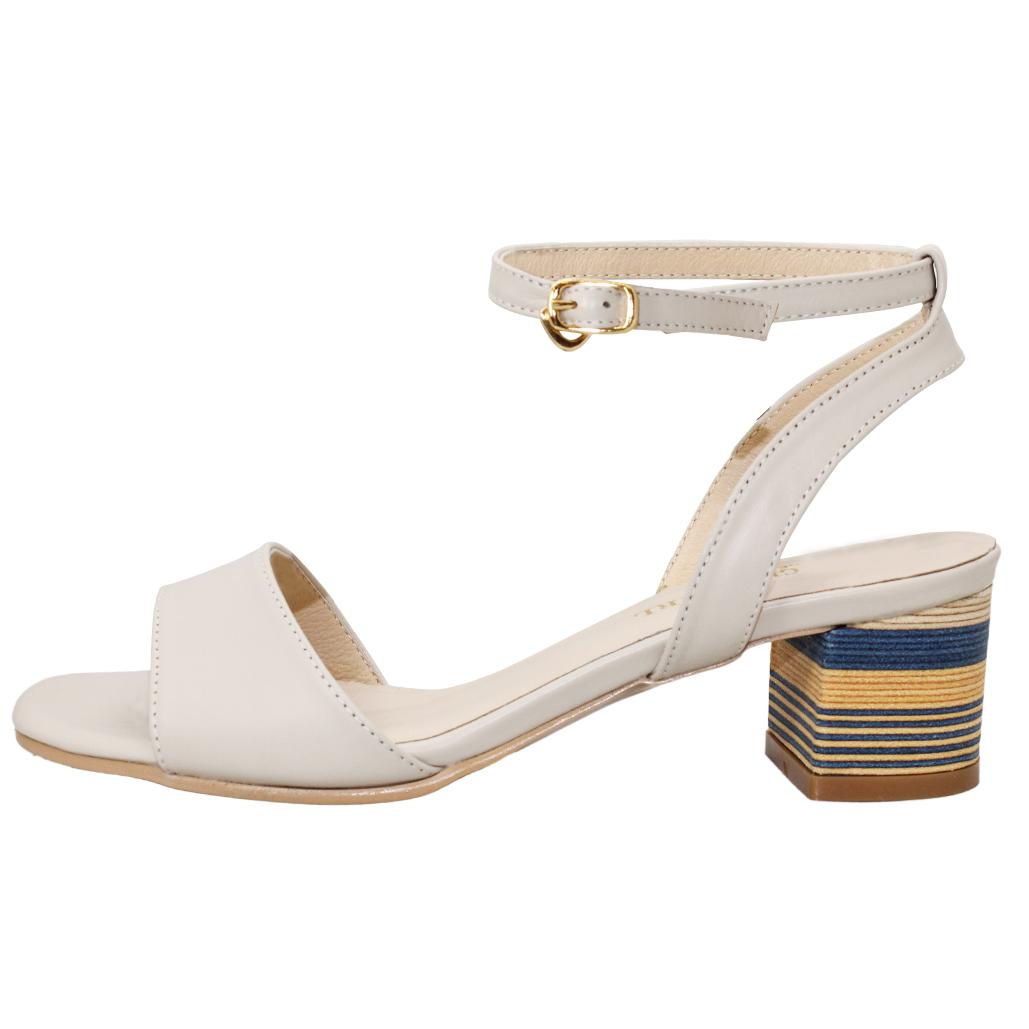 時尚小羊皮幾何木紋粗跟涼鞋