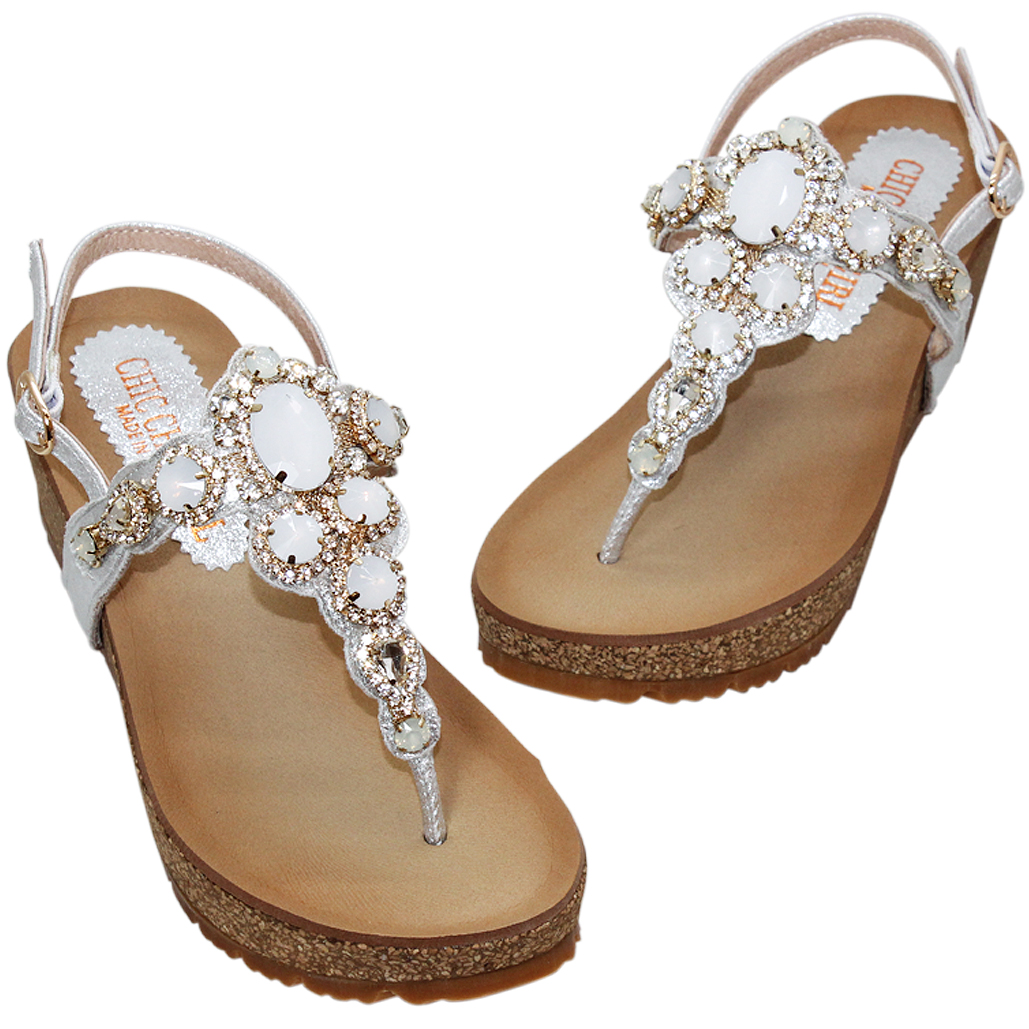 海灘風華麗寶石小羊皮水鑽楔形涼鞋