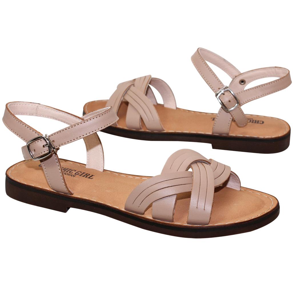 繞踝日系簡約風小牛皮氣墊涼鞋