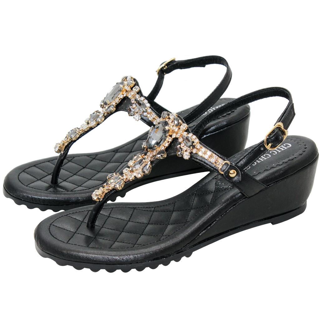 波西米亞風小羊皮氣墊夾腳楔型涼鞋