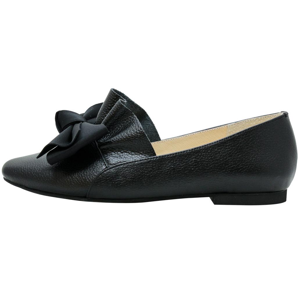 可愛蝴蝶結小牛皮平底娃娃鞋