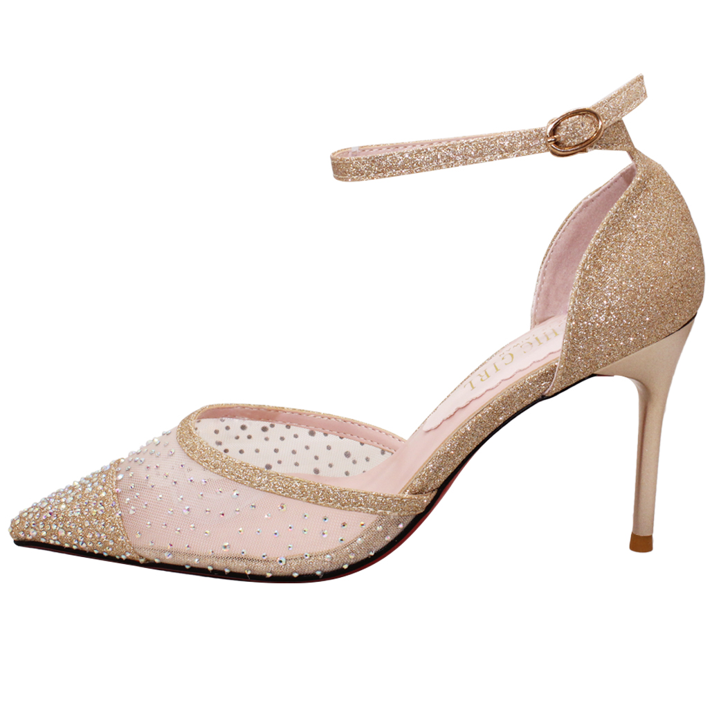 優雅小羊皮貼鑽尖頭晚宴鞋
