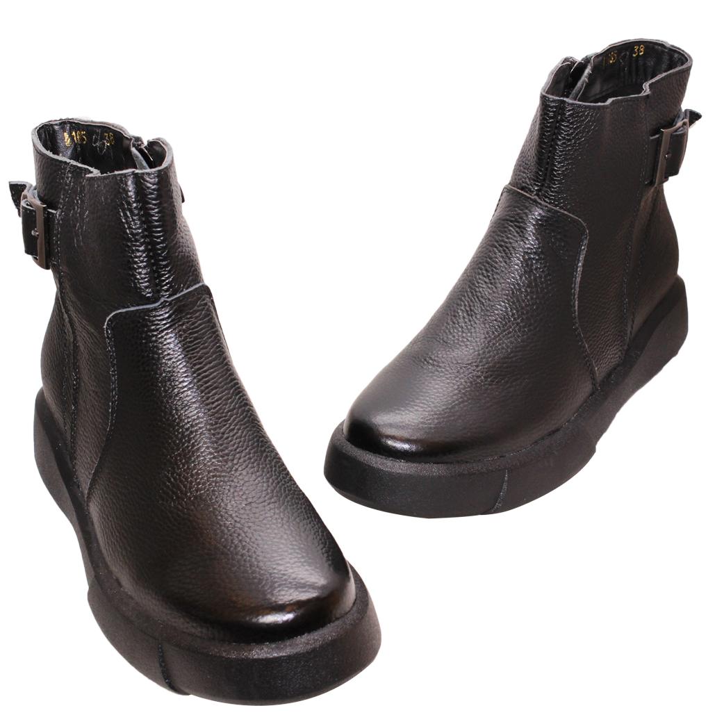 個性風荔枝紋小牛皮平底短靴