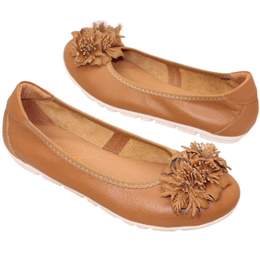 可愛花朵小牛皮氣墊娃娃鞋
