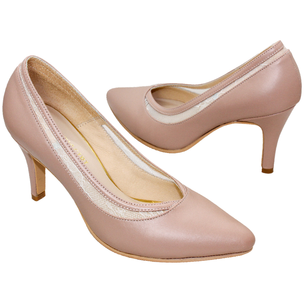 優雅蕾絲小羊皮尖頭跟鞋