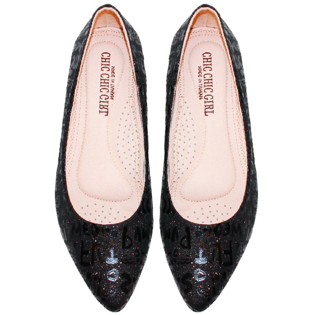 OL款特殊壓紋氣墊平底鞋