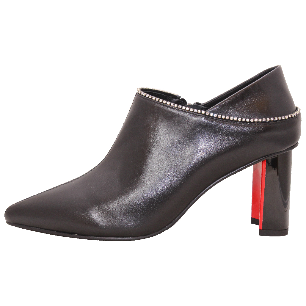 歐美風時尚小羊皮顯瘦水鑽踝靴