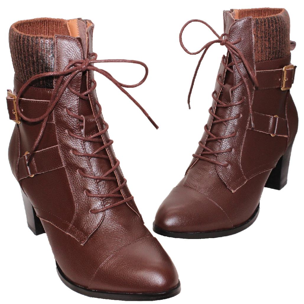 歐美風小牛皮綁帶個性短靴