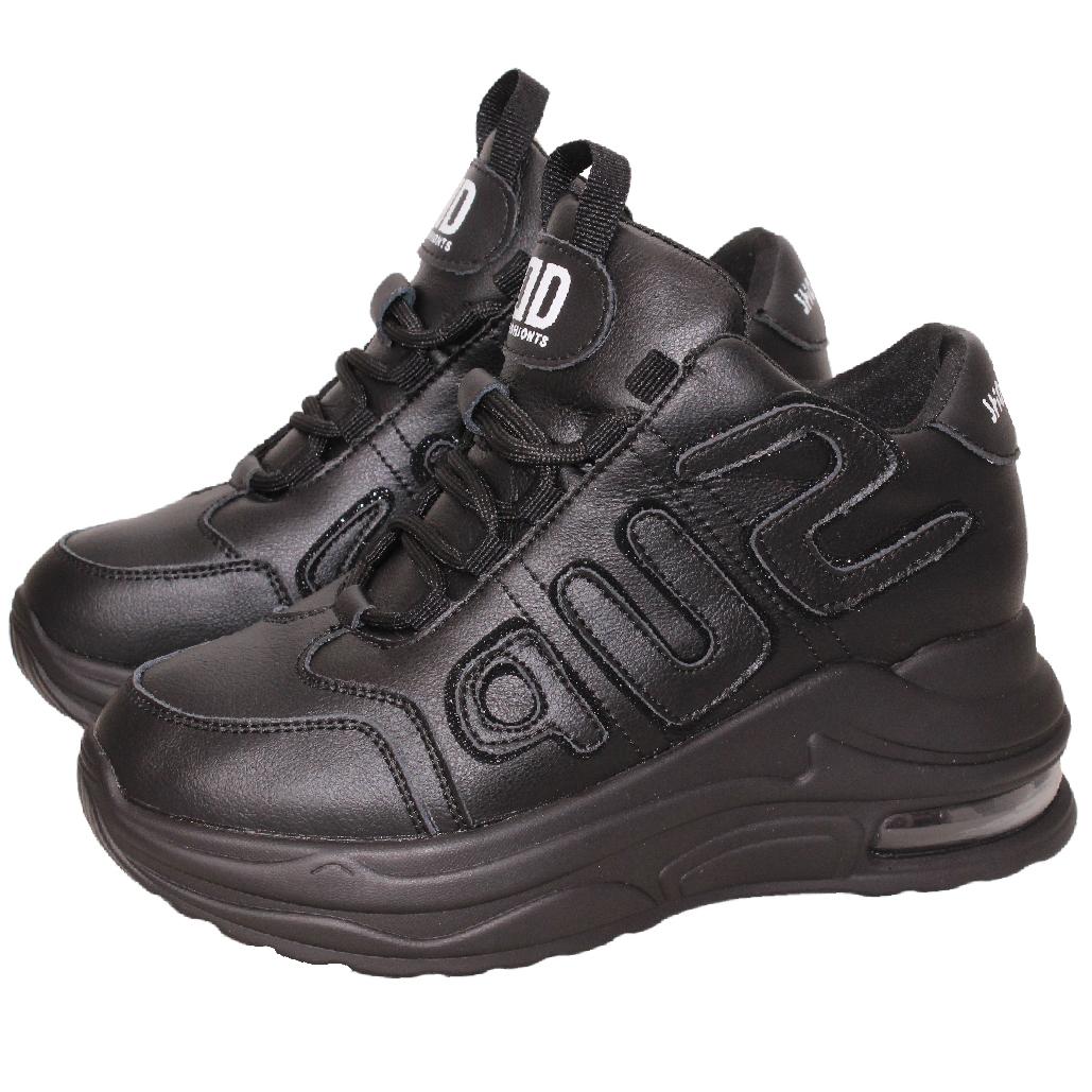 運動風小牛皮心機內增高休閒鞋