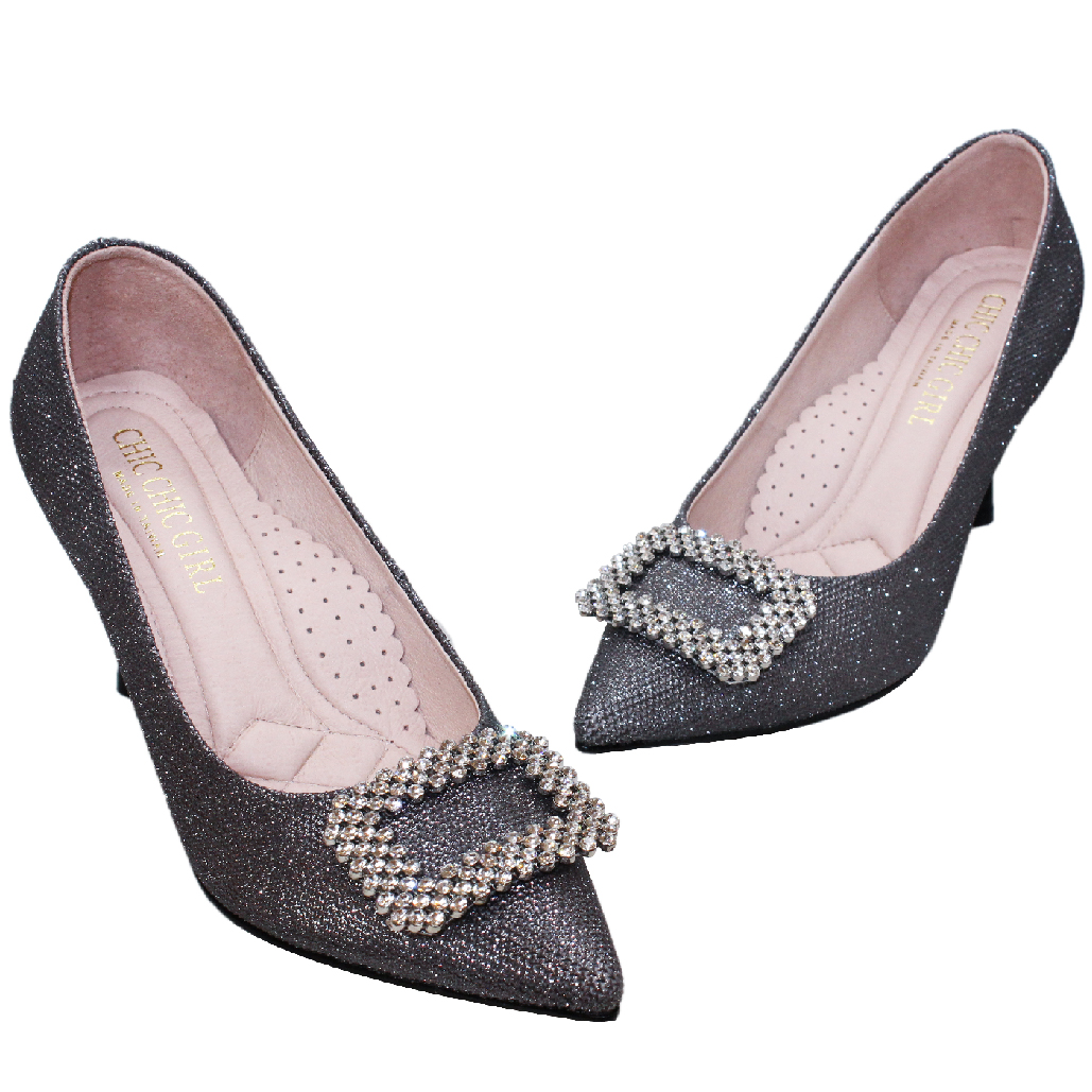 RV風方釦銀蔥晚宴跟鞋