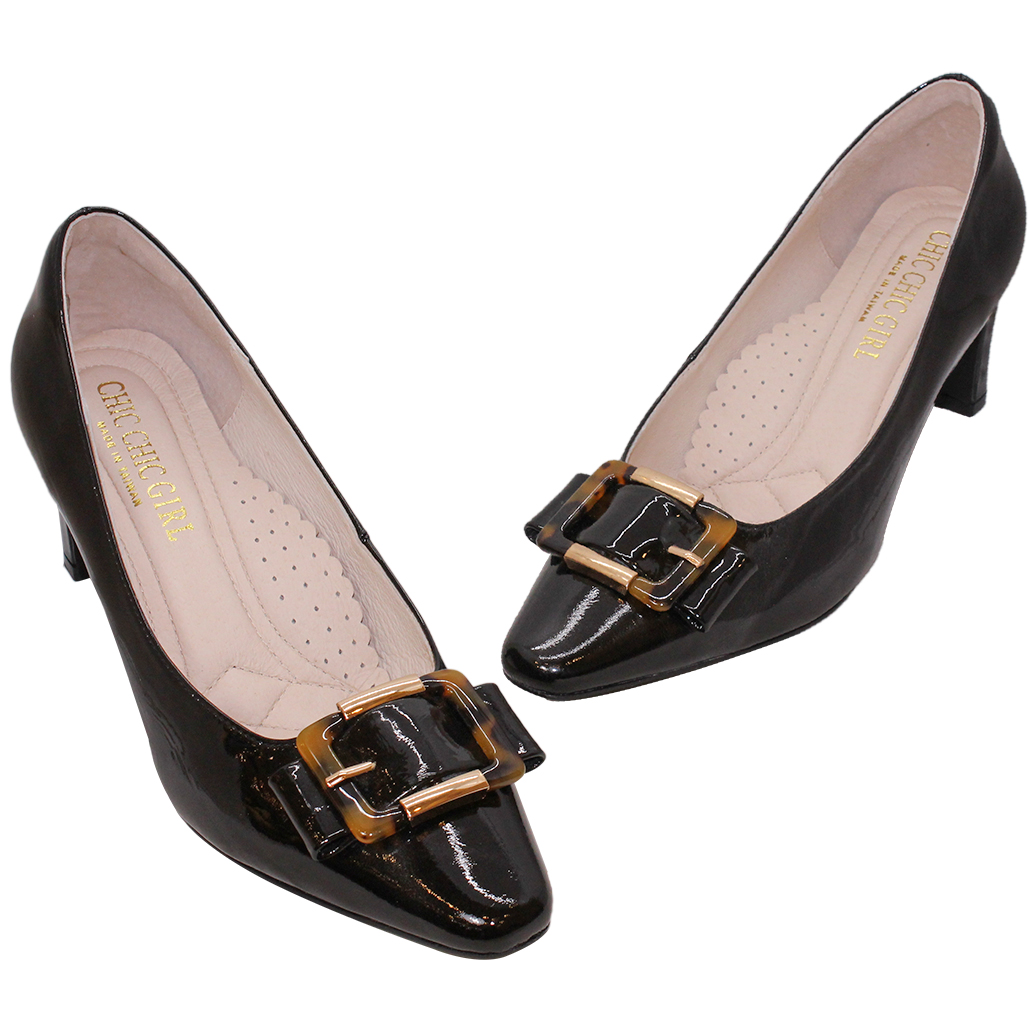 復古羊漆皮玳瑁釦方頭跟鞋