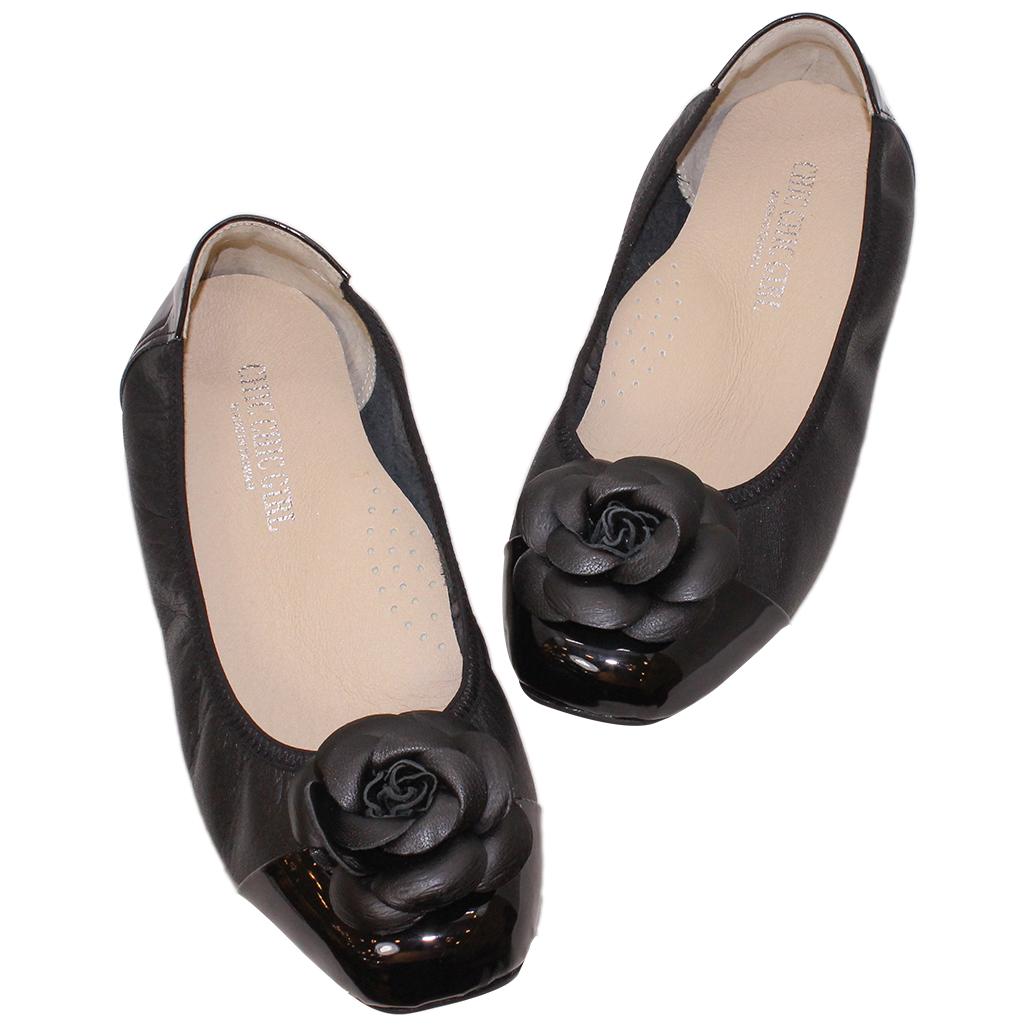 山茶花拼接小牛皮平底氣墊娃娃鞋