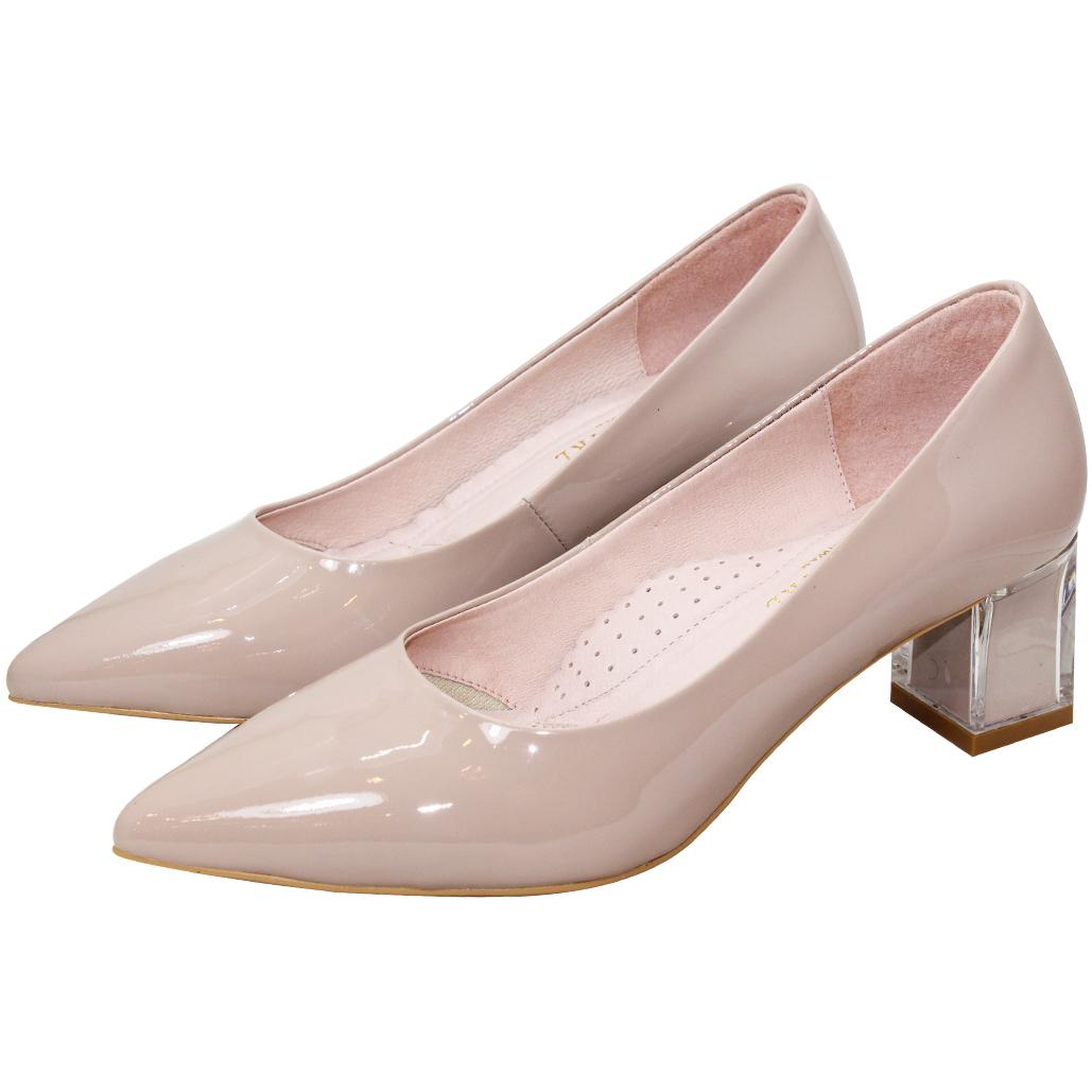質感素面羊漆皮水晶跟鞋