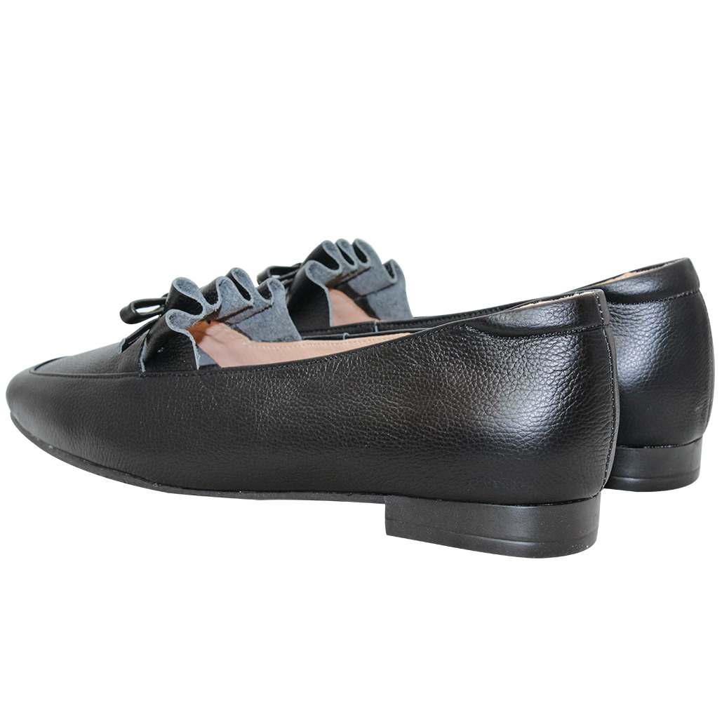 日系荷葉邊蝴蝶結小牛皮方頭樂福鞋