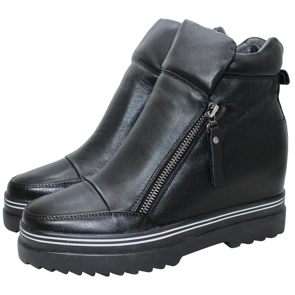 個性風頂級小牛皮內增高短靴