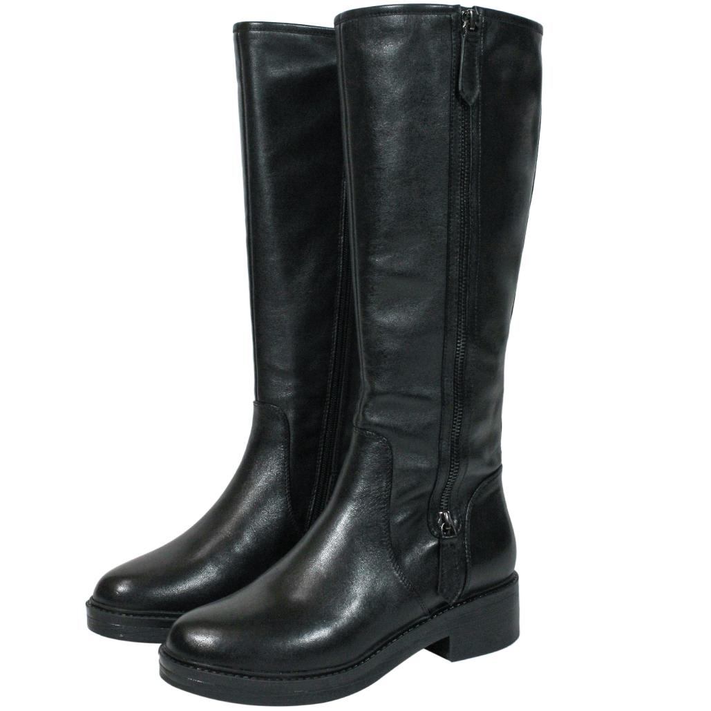 時尚頂級小牛皮低粗跟長靴