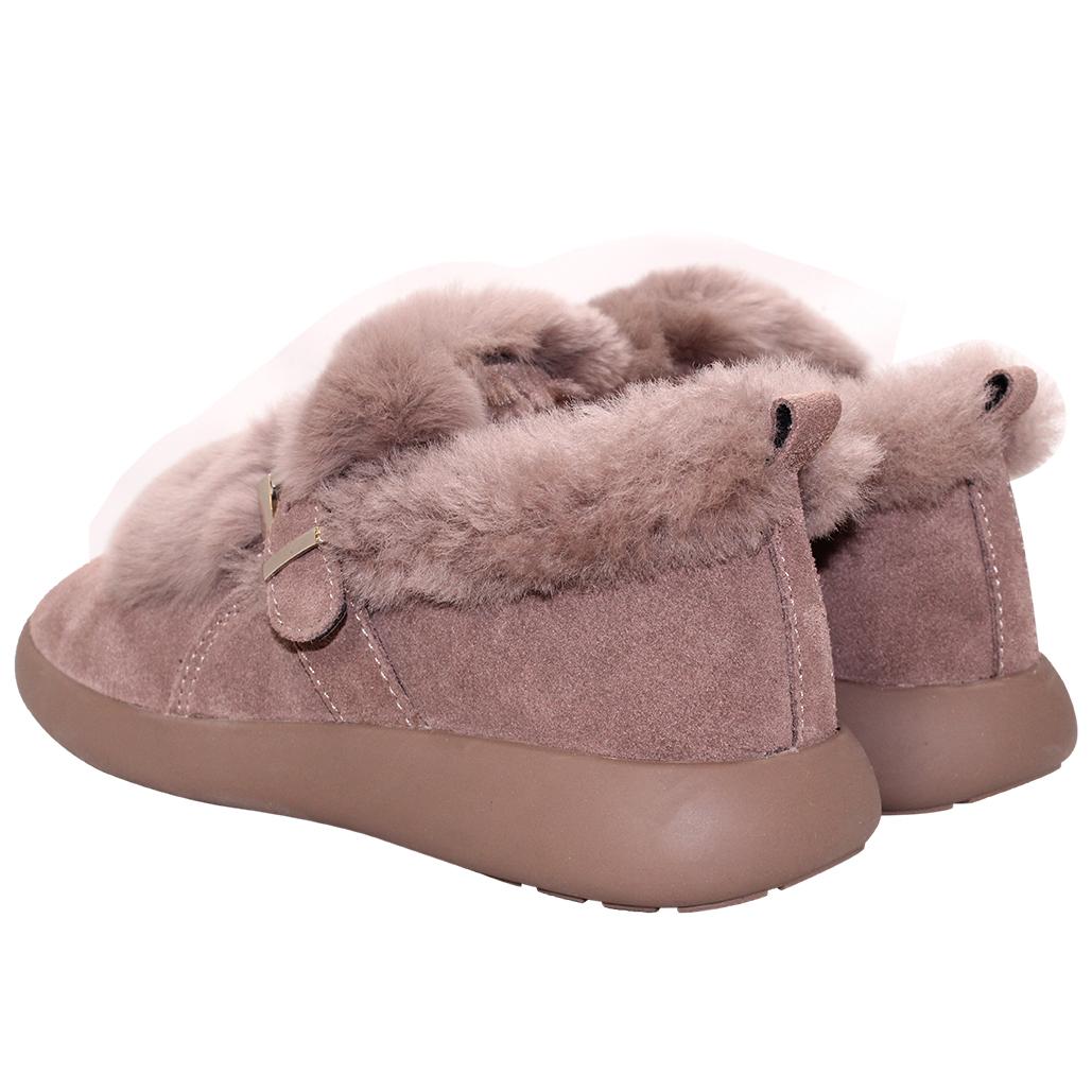 可愛毛絨羊麂皮保暖雪靴