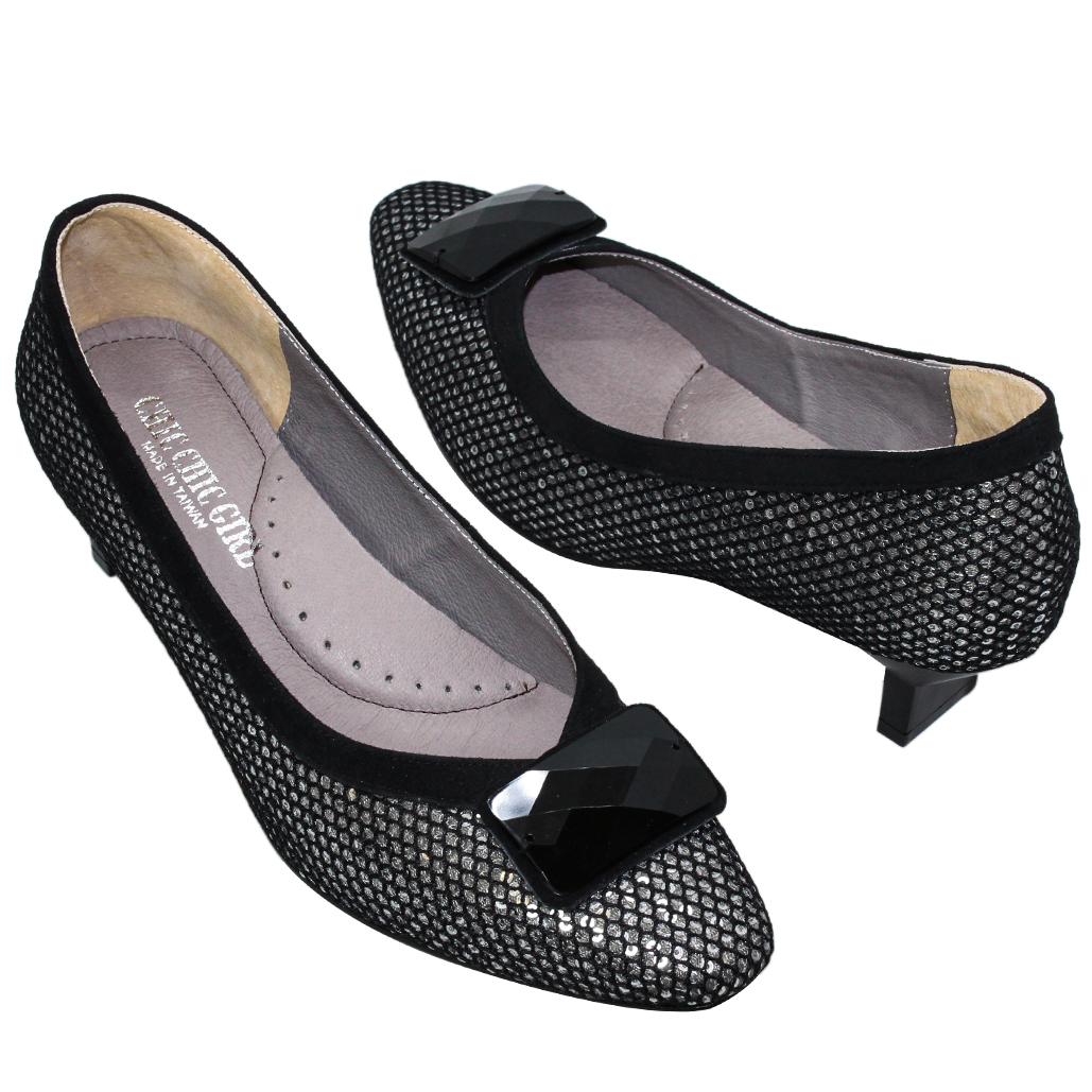 閃亮網紗小羊皮方頭特殊跟鞋