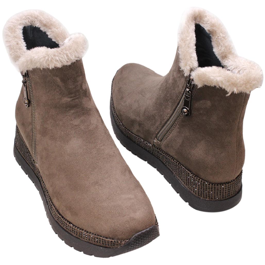 保暖羊麂皮毛邊楔型雪靴