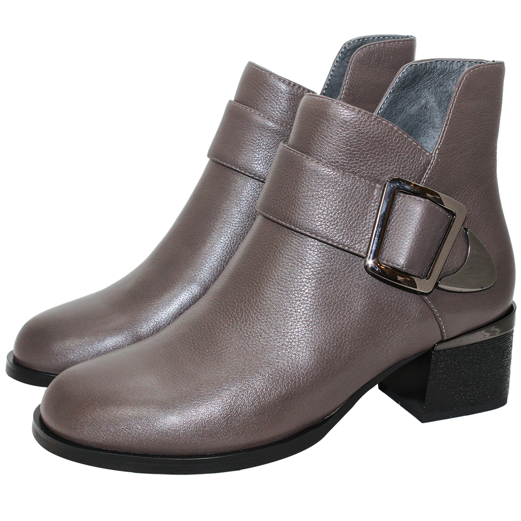 個性歐美風小牛皮粗跟短靴