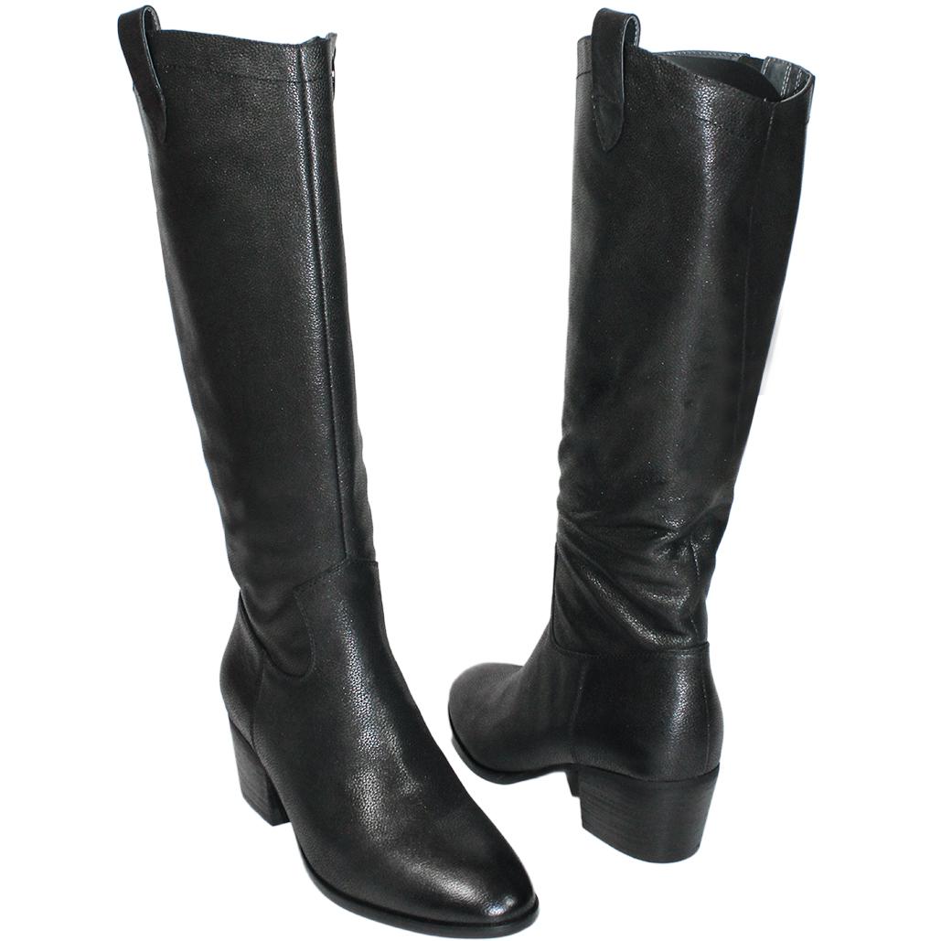 簡約風素面小牛皮粗跟長靴