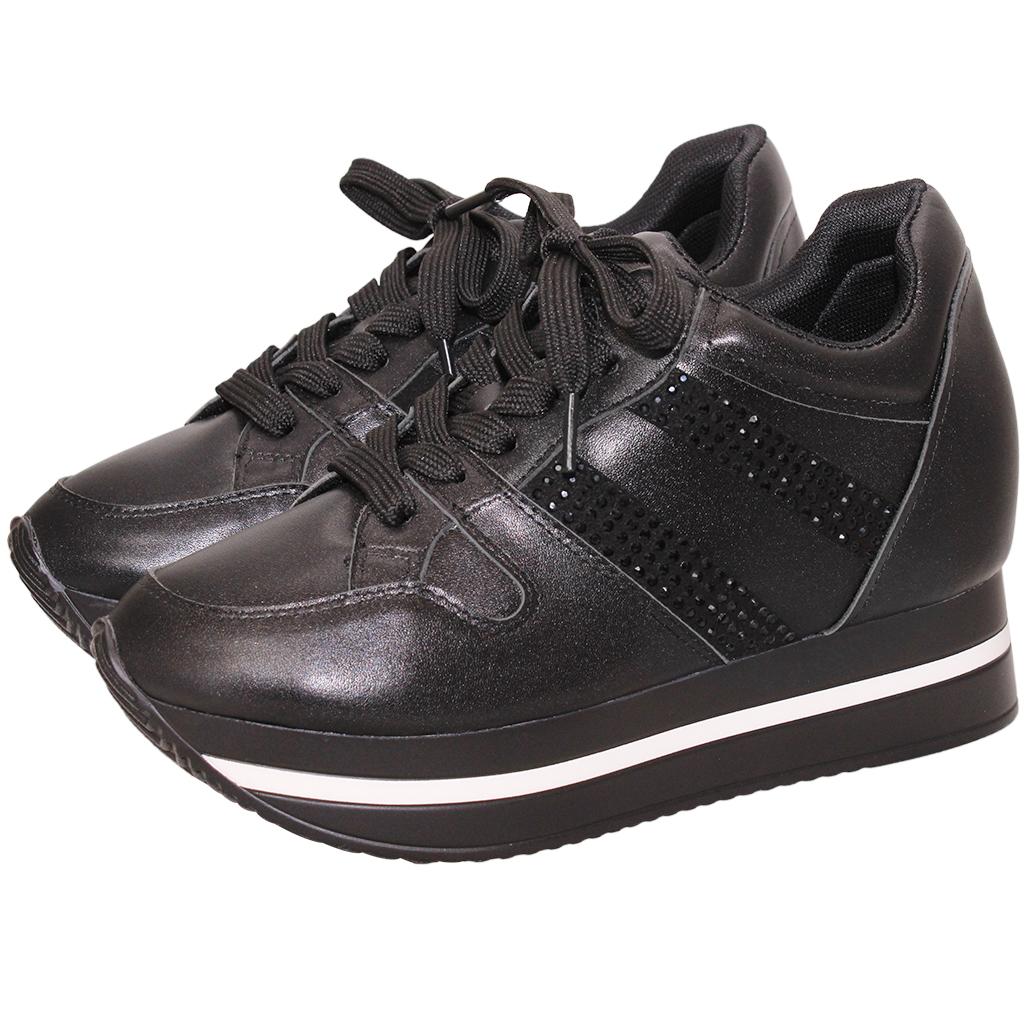 運動風小羊皮水鑽心機內增高鞋