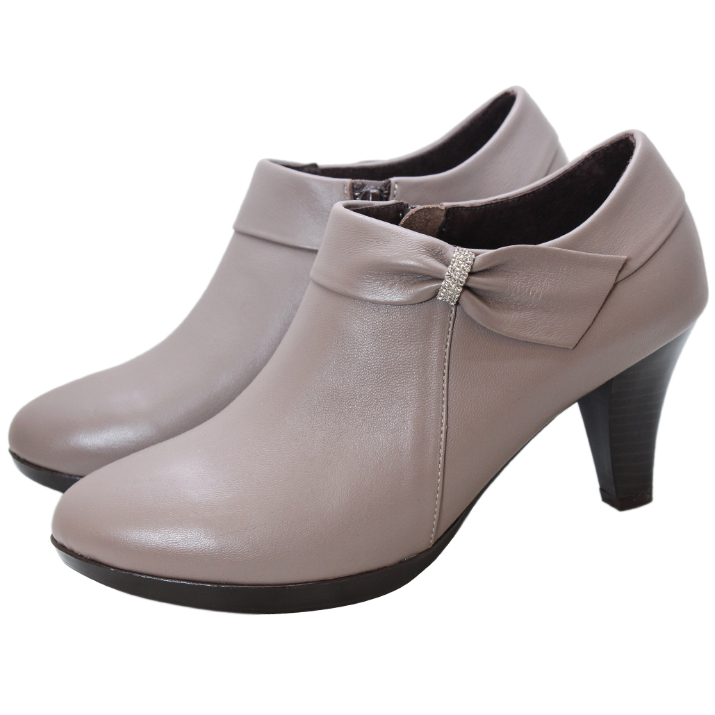優雅水鑽小羊皮蝴蝶結氣墊踝靴