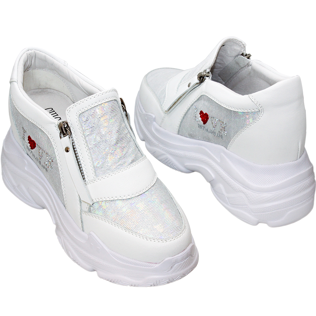 可愛風小羊皮輕量增高老爹鞋