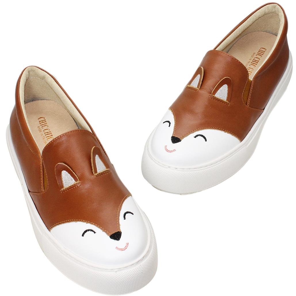 可愛松鼠小牛皮厚底休閒鞋