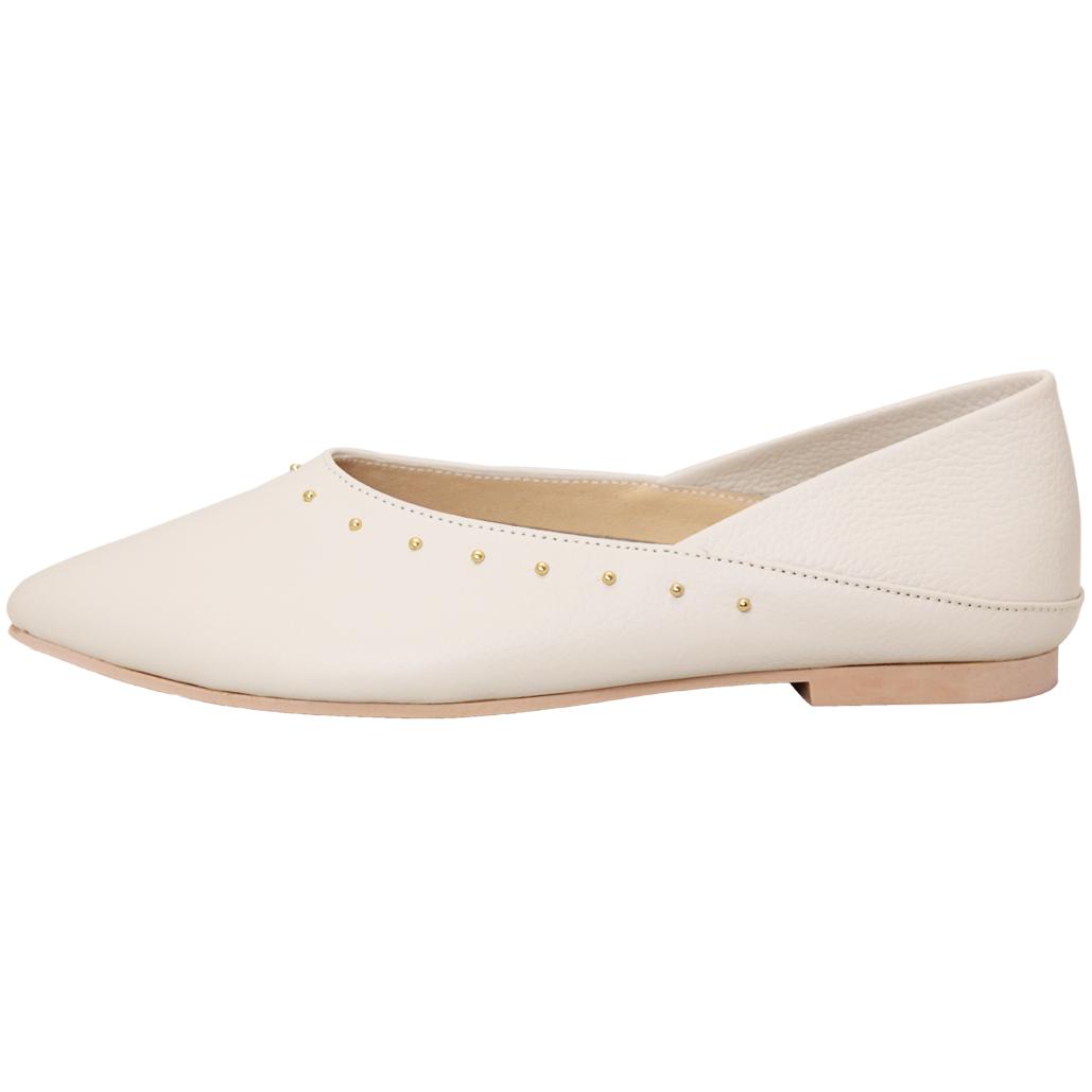 2way小牛皮鉚釘尖頭樂福鞋(可後踩)
