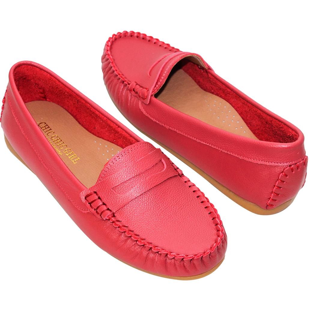 軟Q小牛皮船型厚底樂福鞋