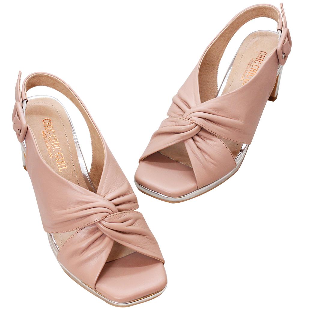時尚優雅小羊皮金屬跟涼鞋