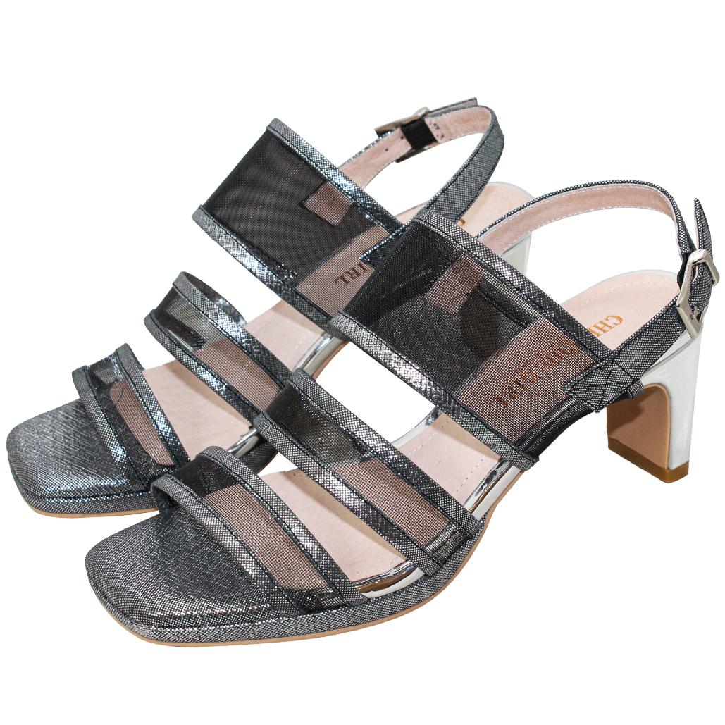 性感網紗小羊皮金屬跟平口涼鞋