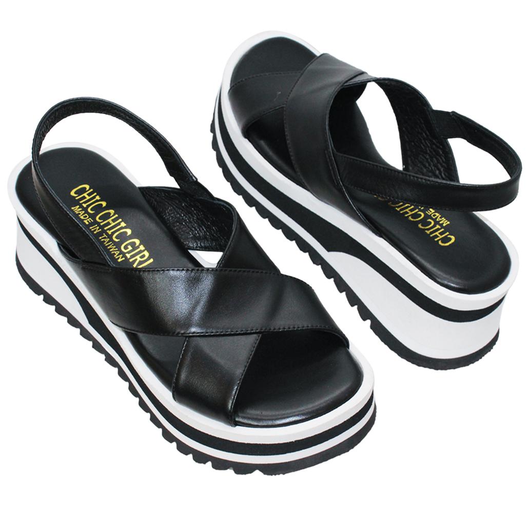 休閒風小牛皮平底增高涼鞋