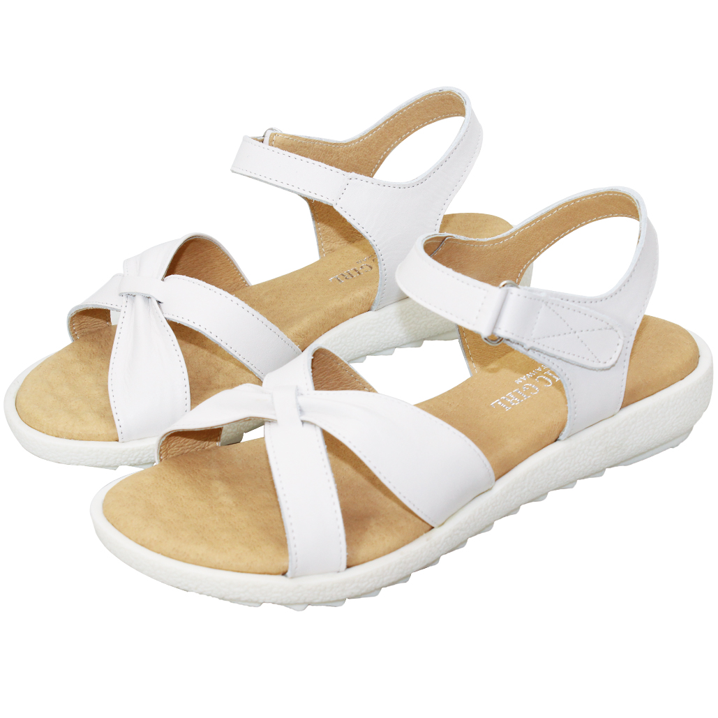 優雅平口輕量厚底小牛皮涼鞋