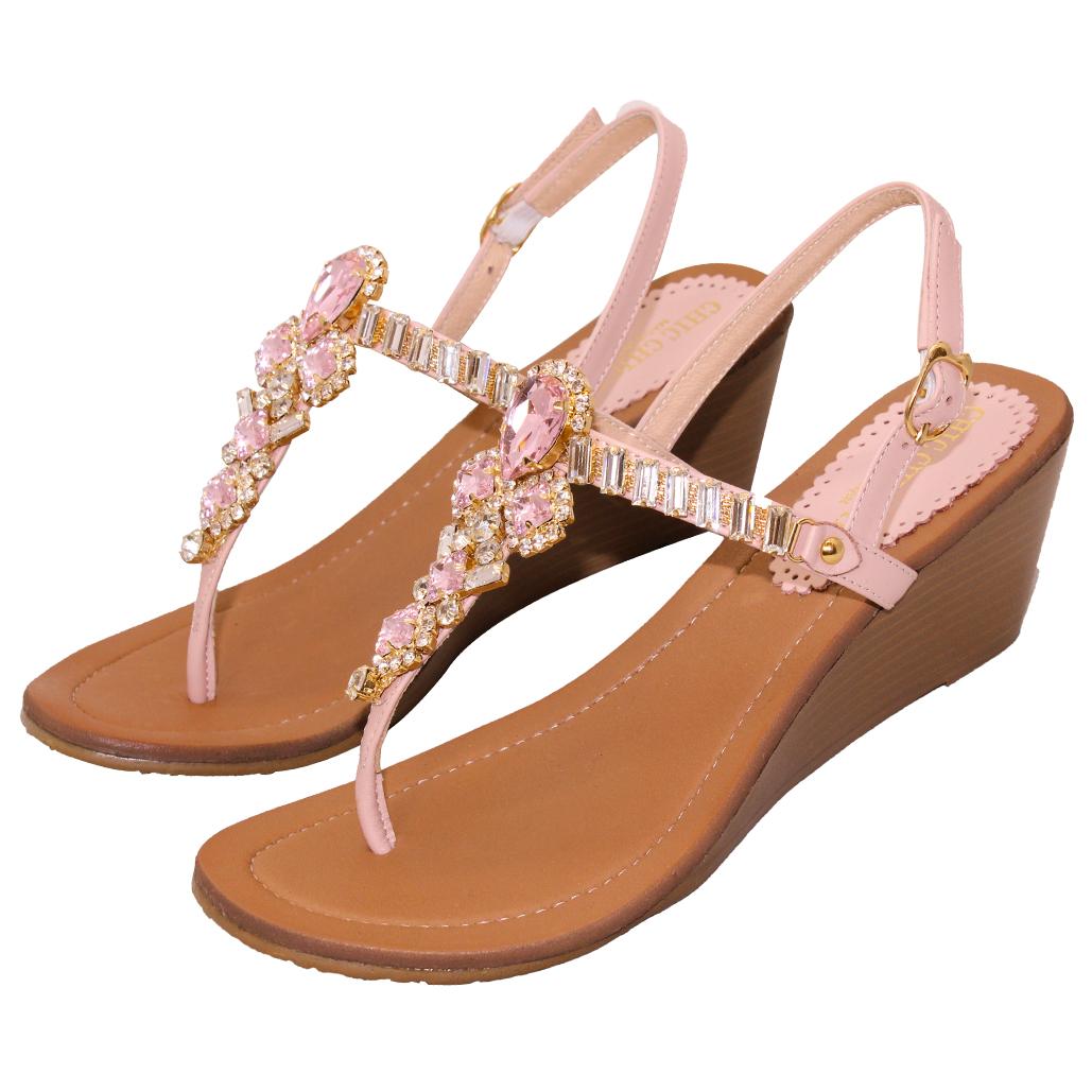 波西米亞小羊皮夾腳楔型涼鞋