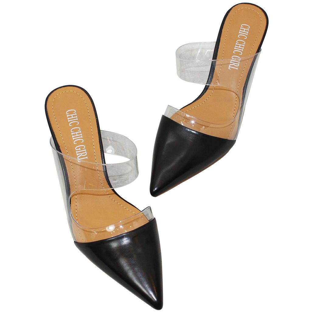 精品風寶石跟尖頭小羊皮穆勒鞋