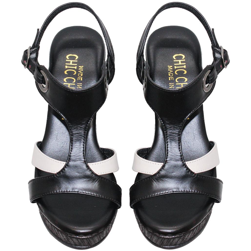 渡假風小羊皮撞色楔型涼鞋