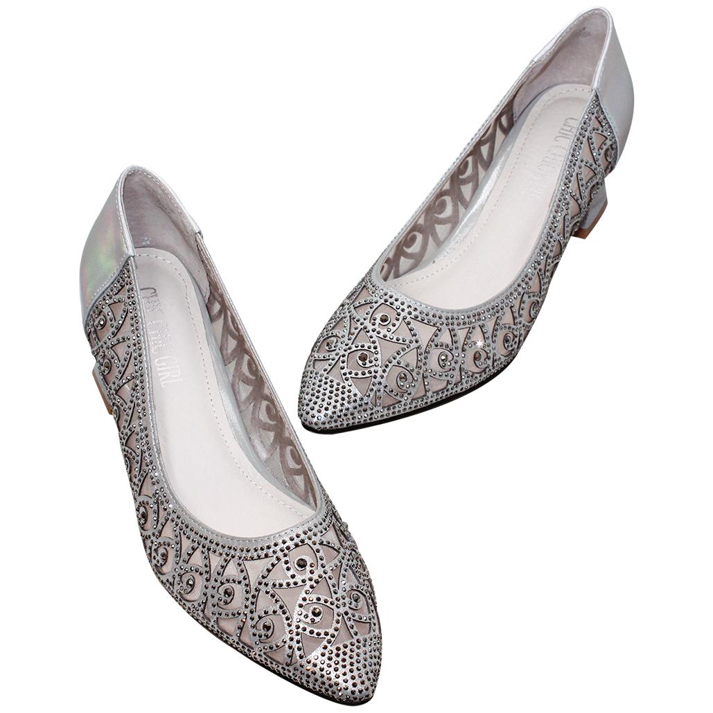 優雅亮鑽雷雕小羊皮晚宴鞋