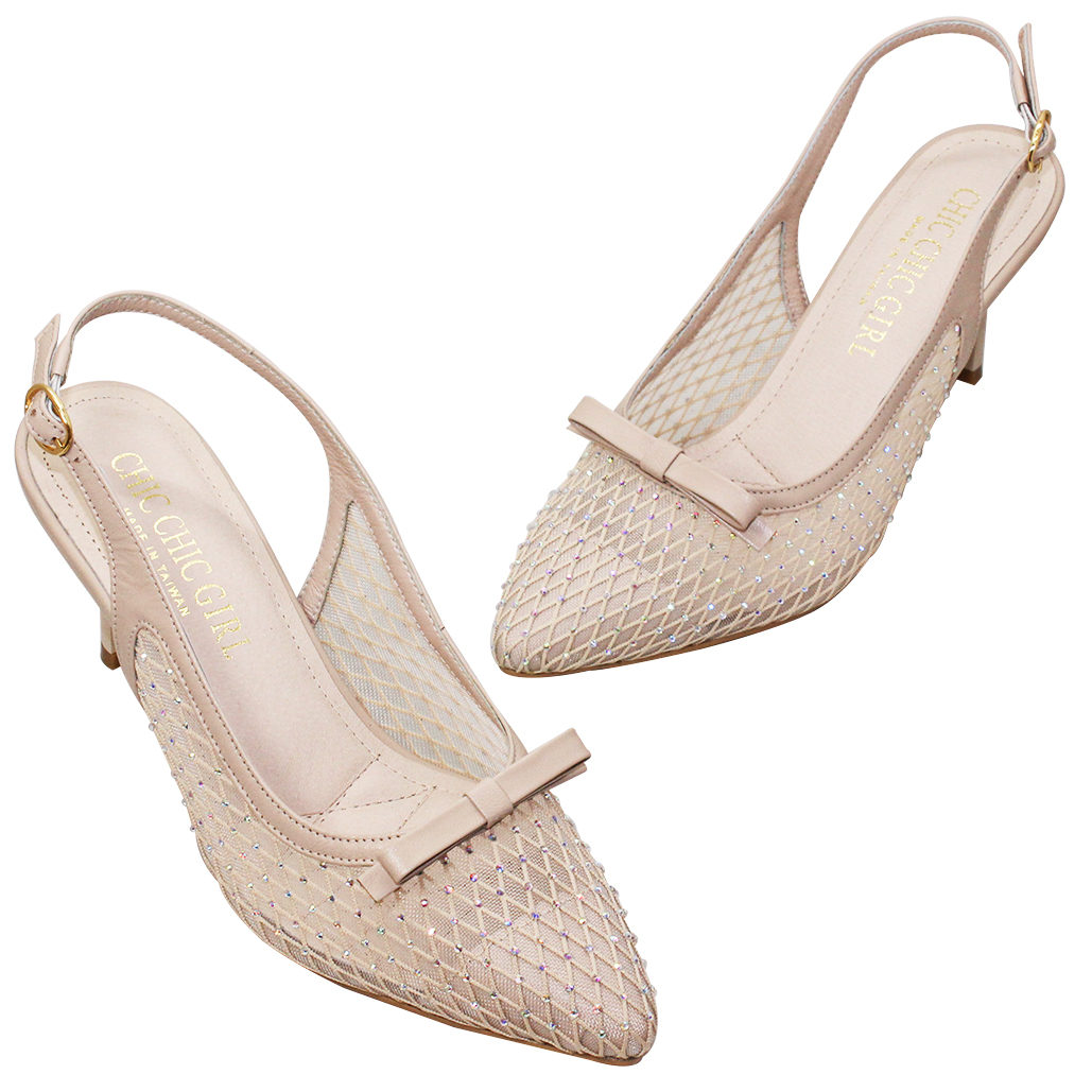 典雅蝴蝶結小羊皮亮鑽低跟晚宴鞋