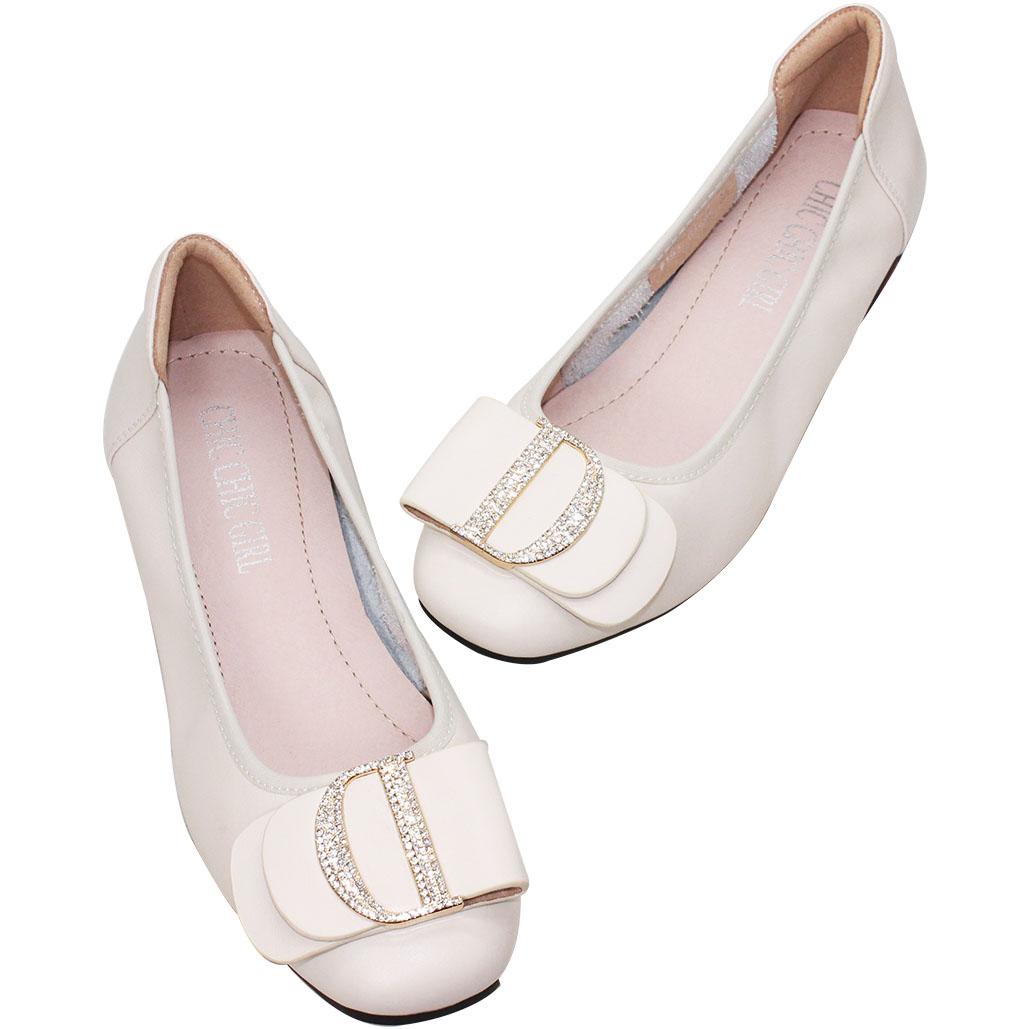 D字蝴蝶結軟Q小羊皮娃娃鞋