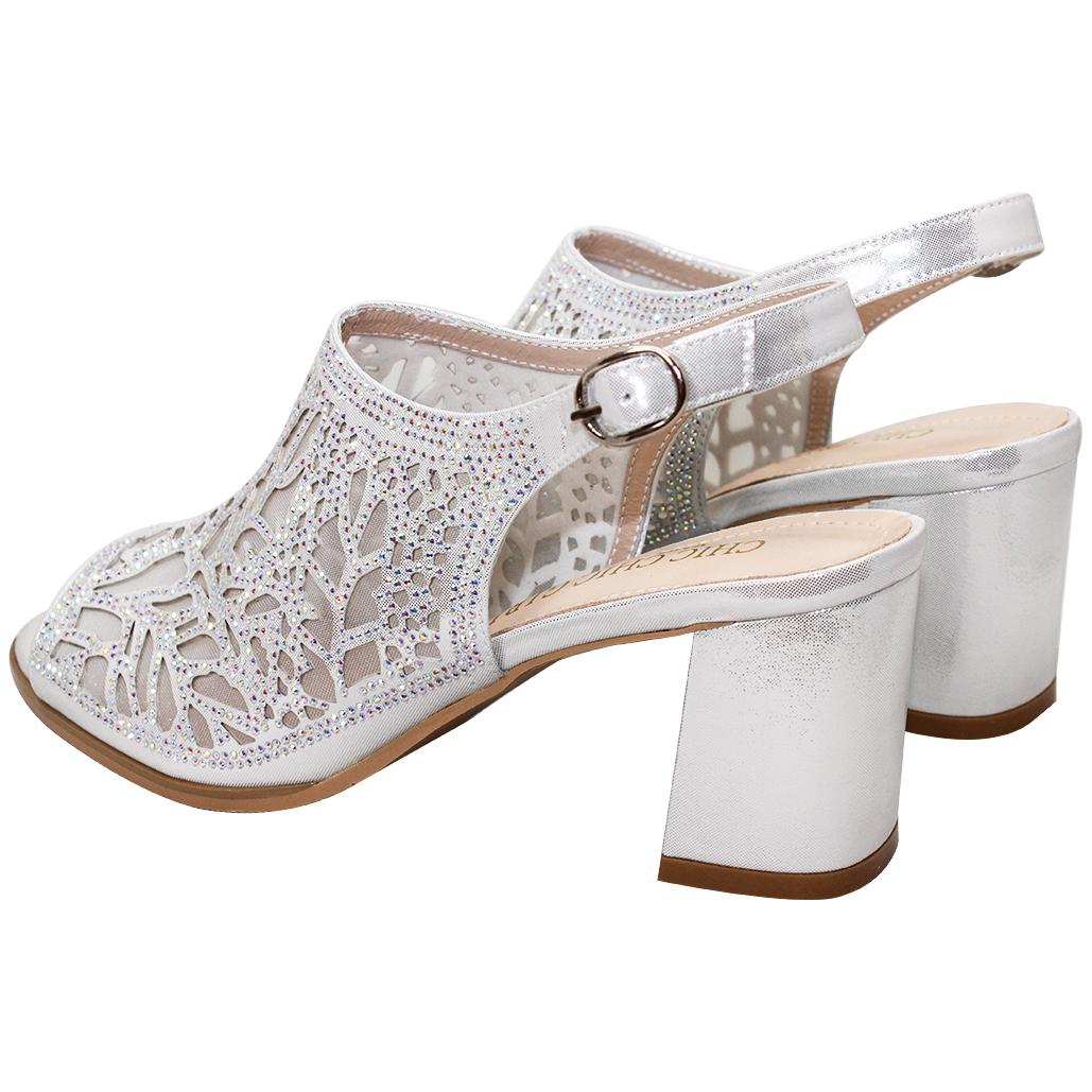 時尚優雅雷雕小羊皮魚口涼鞋