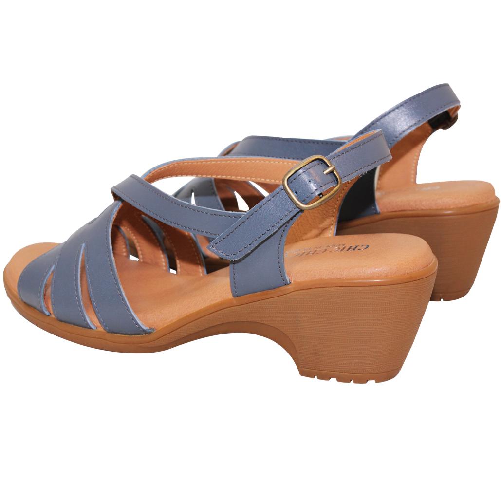 優雅小牛皮低跟休閒涼鞋