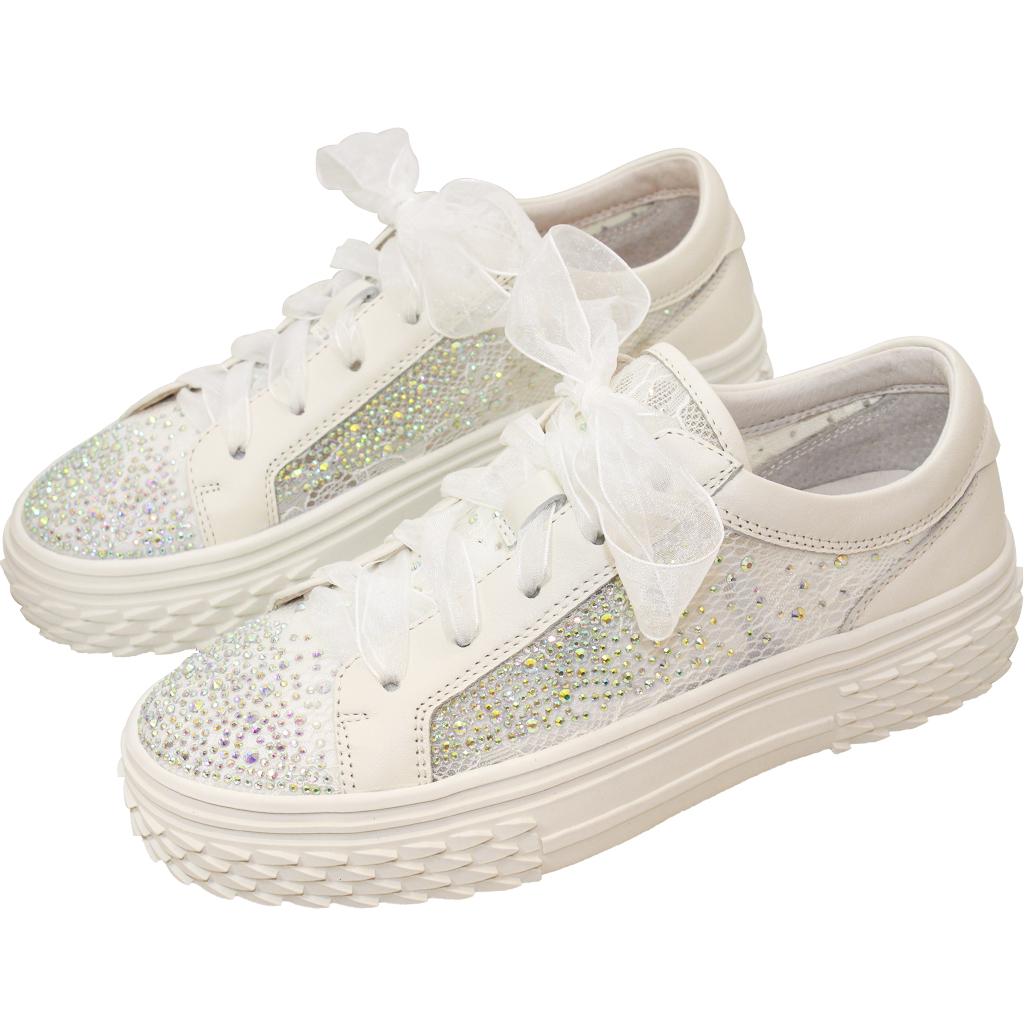 華麗小羊皮蕾絲水鑽緞帶休閒鞋