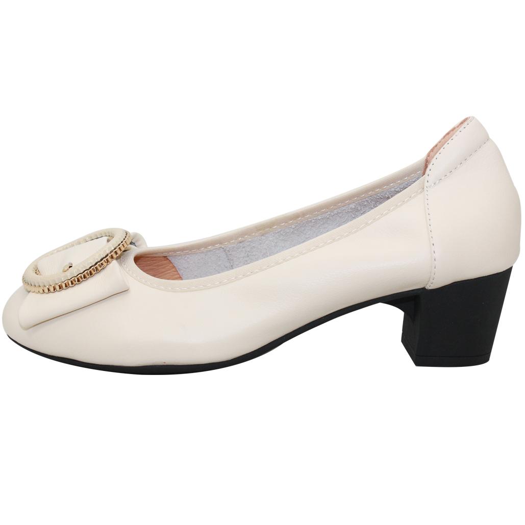 優雅OL款小羊皮低跟鞋