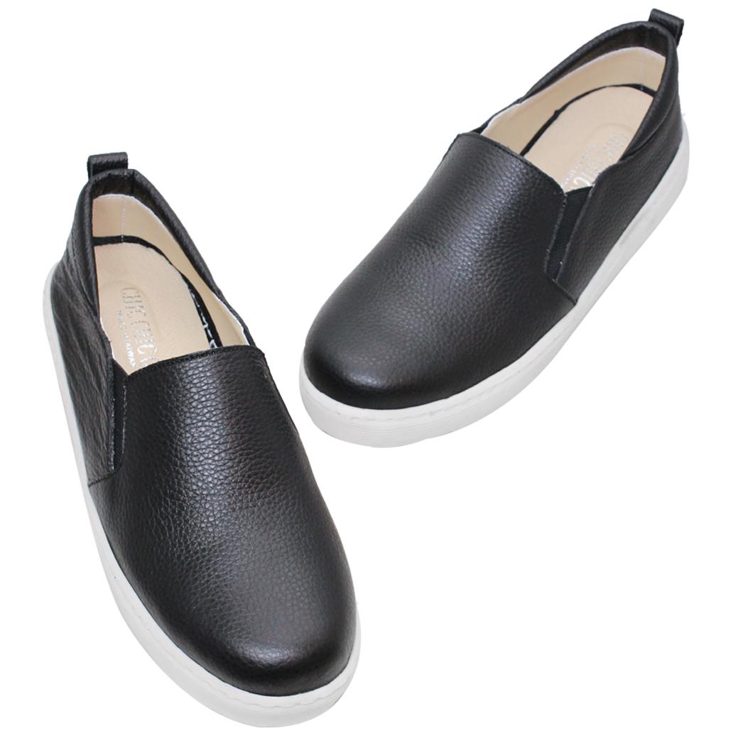 百搭小牛皮素面厚底平底鞋