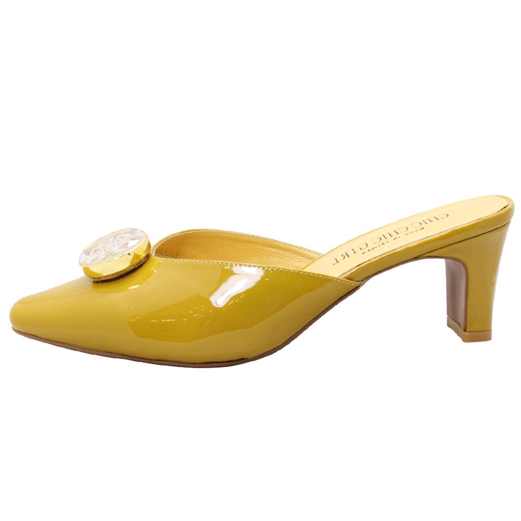 法式羊漆皮圓釦穆勒跟鞋