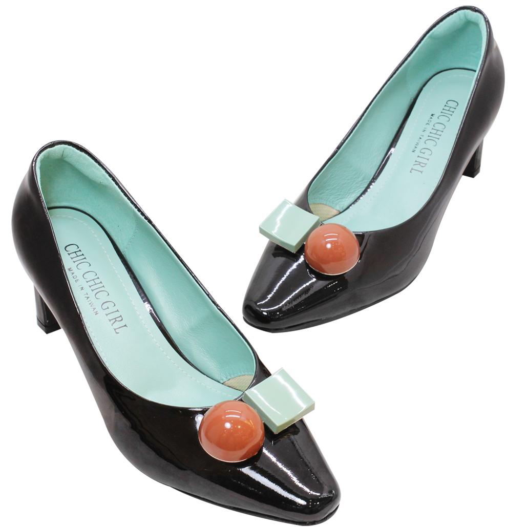 精品風羊漆皮氣墊跟鞋