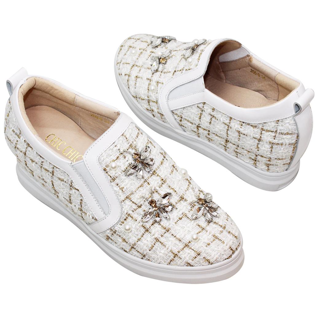 小香風格紋毛呢增高休閒鞋